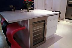 Kitchen Island with Integrated Fridge