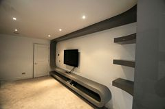 Grey Gloss Polished TV Unit